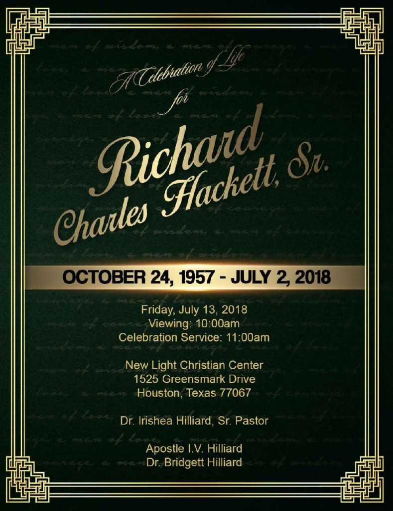 Richard Charles Hackett Sr. 1957-2018